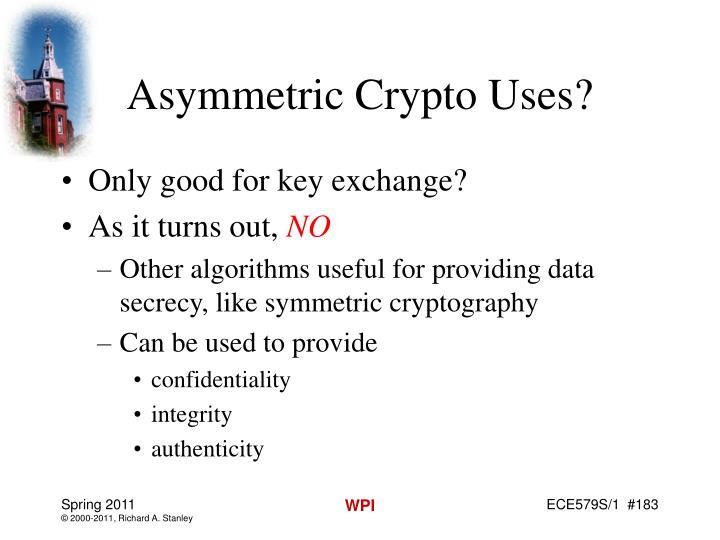 Asymmetric Crypto Uses?