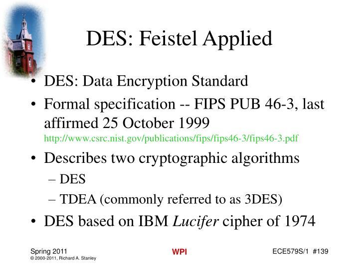 DES: Feistel Applied