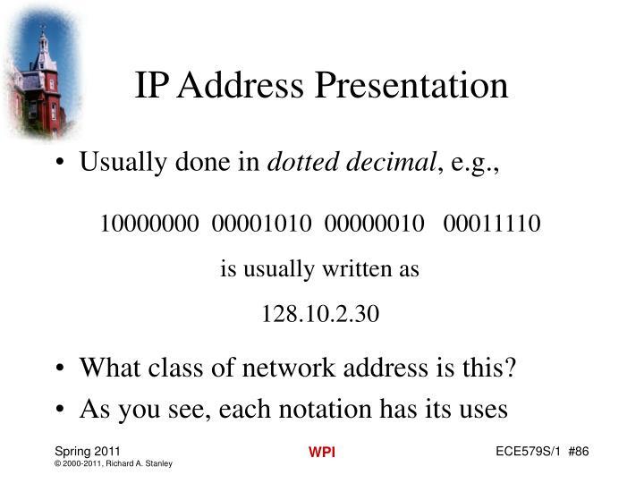 IP Address Presentation