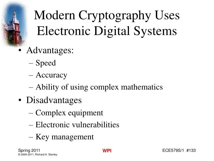 Modern Cryptography Uses Electronic Digital Systems