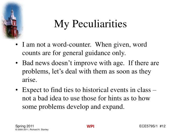 My Peculiarities