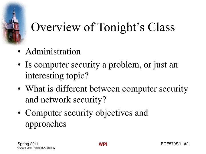 Overview of Tonight's Class