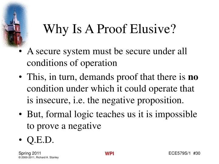 Why Is A Proof Elusive?
