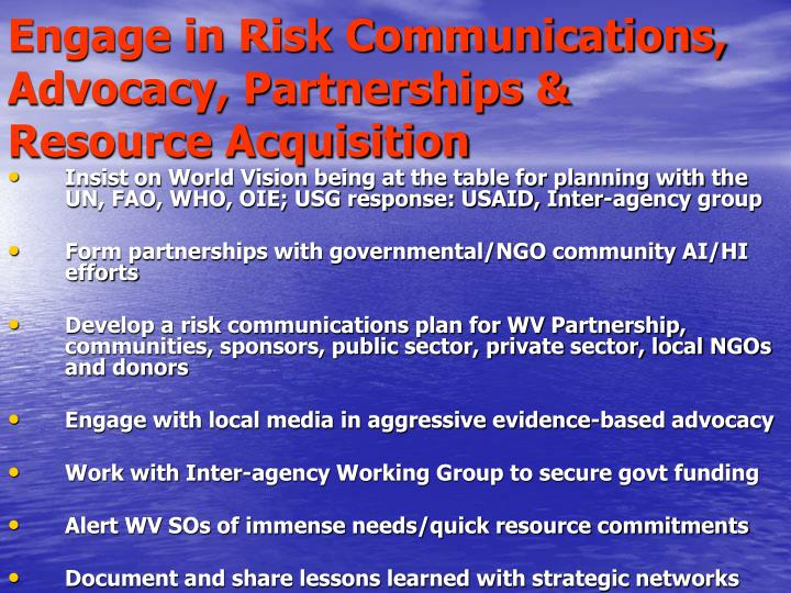 Engage in Risk Communications, Advocacy, Partnerships & Resource Acquisition