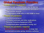 global pandemic priorities