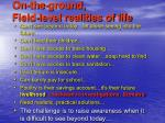 on the ground field level realities of life