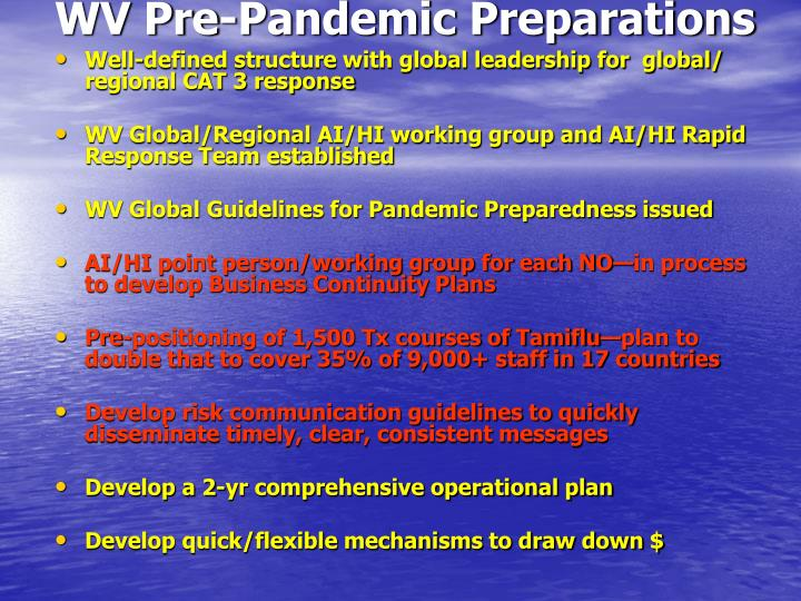 WV Pre-Pandemic Preparations