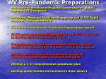 wv pre pandemic preparations