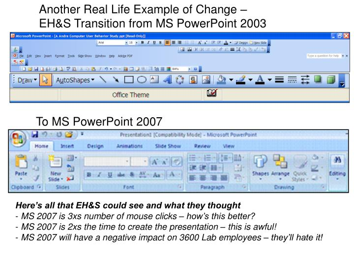Another Real Life Example of Change – EH&S Transition from MS