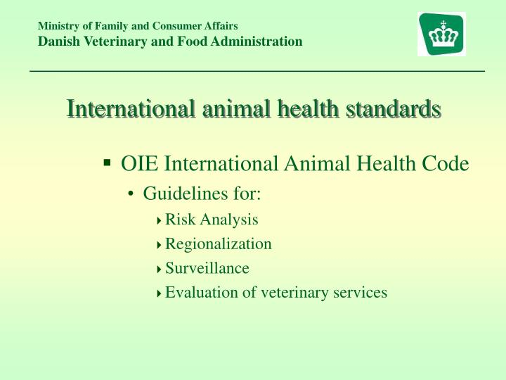 International animal health standards
