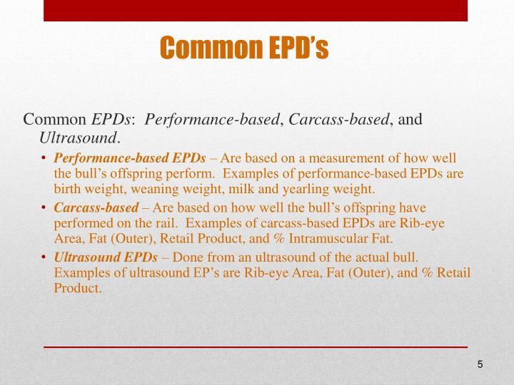 Common EPD's