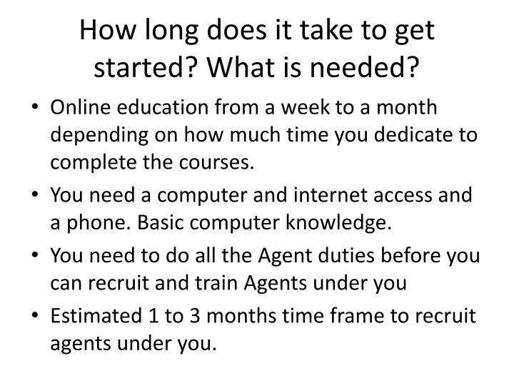 How long does it take to get started? What is needed?
