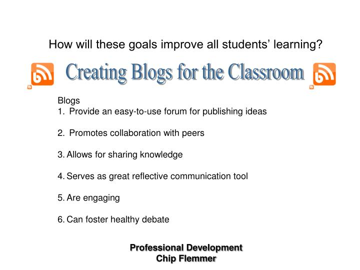 Creating Blogs for the Classroom