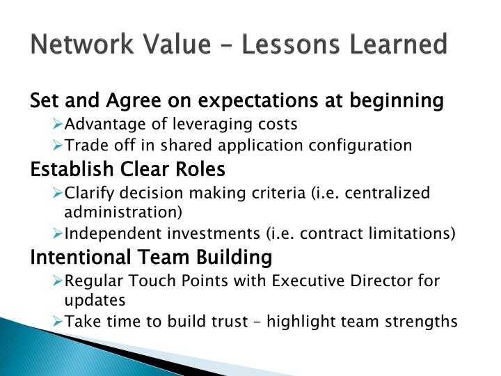 Network Value – Lessons Learned