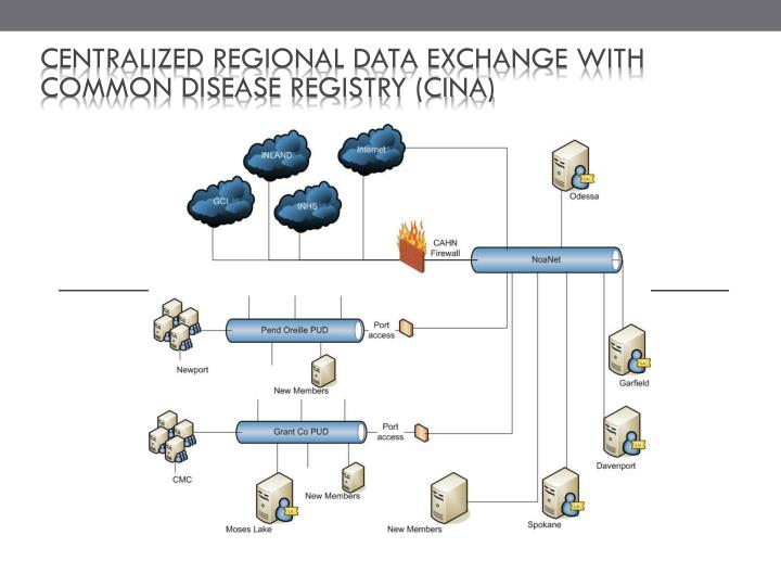 Centralized regional data exchange with common disease registry (CINA)
