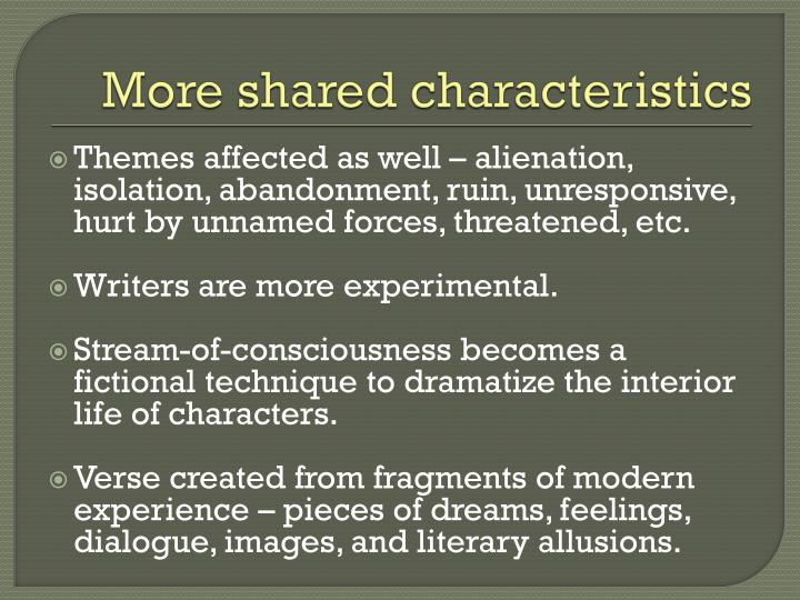 More shared characteristics