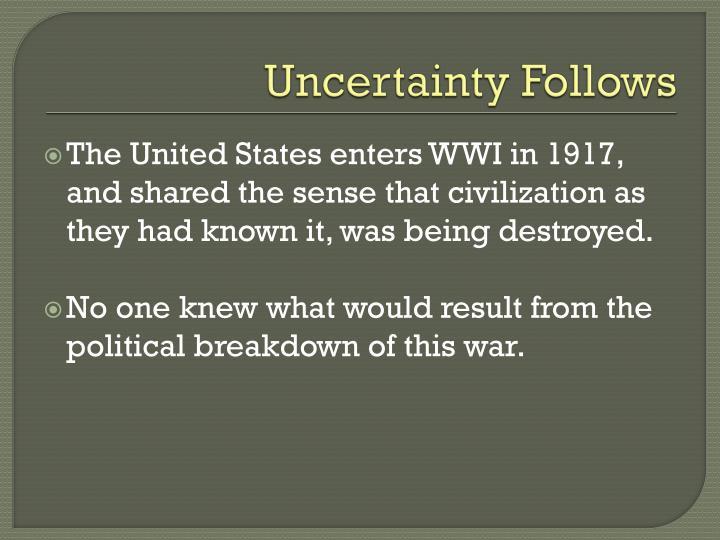 Uncertainty Follows