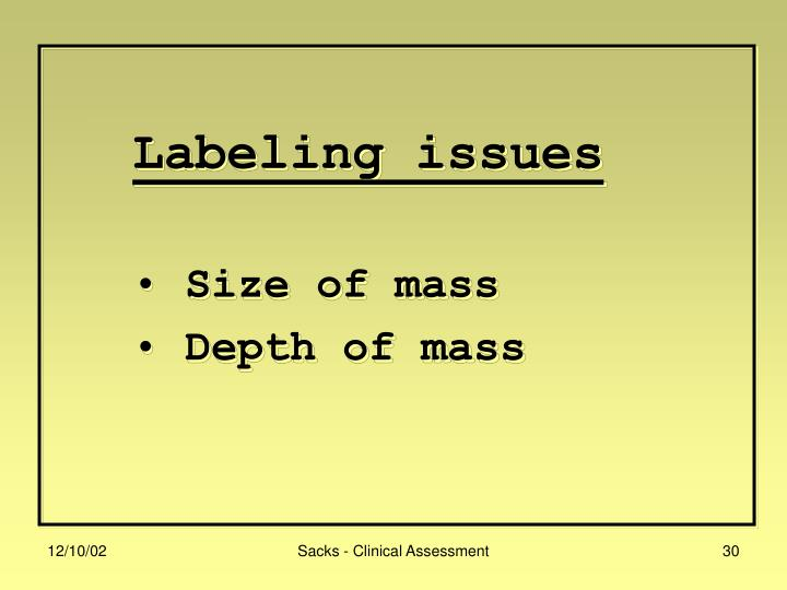 Labeling issues