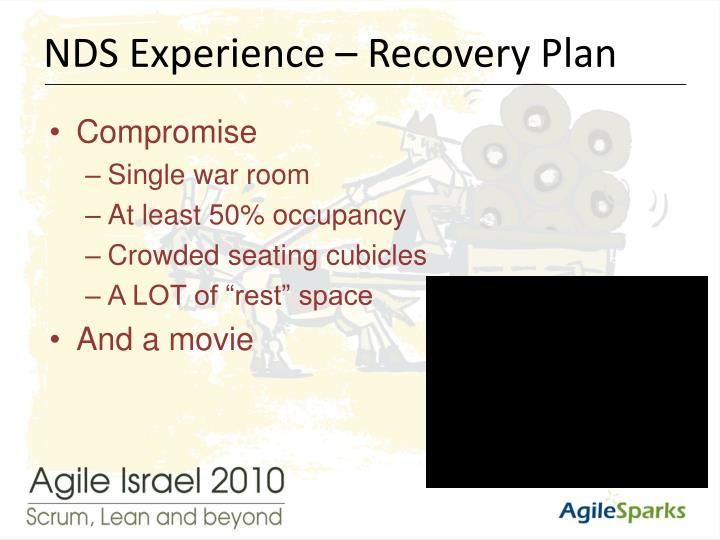 NDS Experience – Recovery Plan