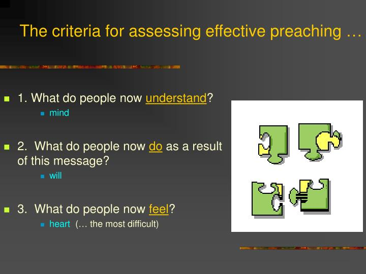 The criteria for assessing effective preaching …