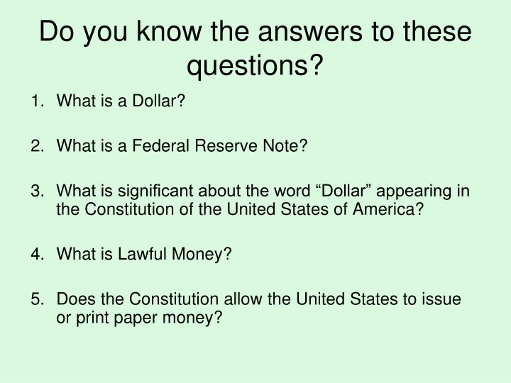 Do you know the answers to these questions