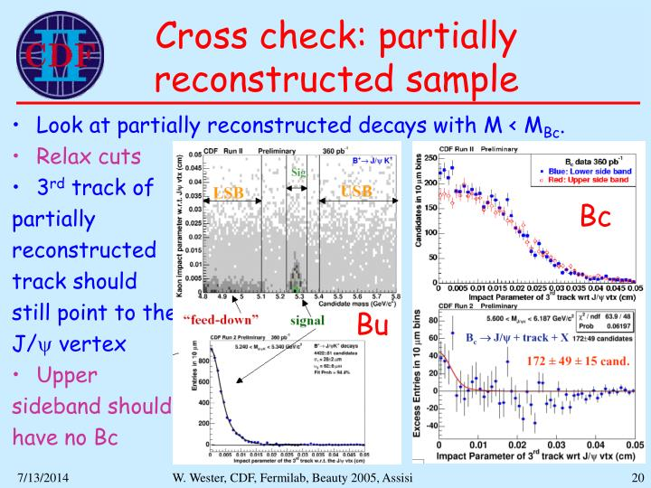 Cross check: partially reconstructed sample