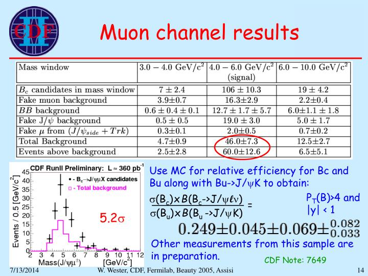 Muon channel results