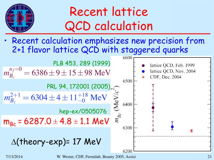 Recent lattice         QCD calculation