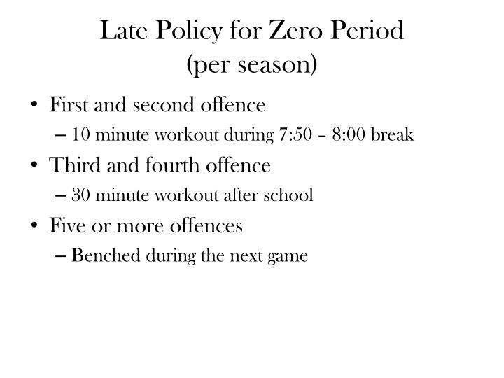 Late Policy for Zero Period