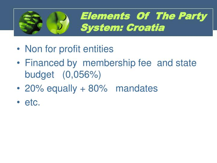 Elements  Of  The Party System: Croatia