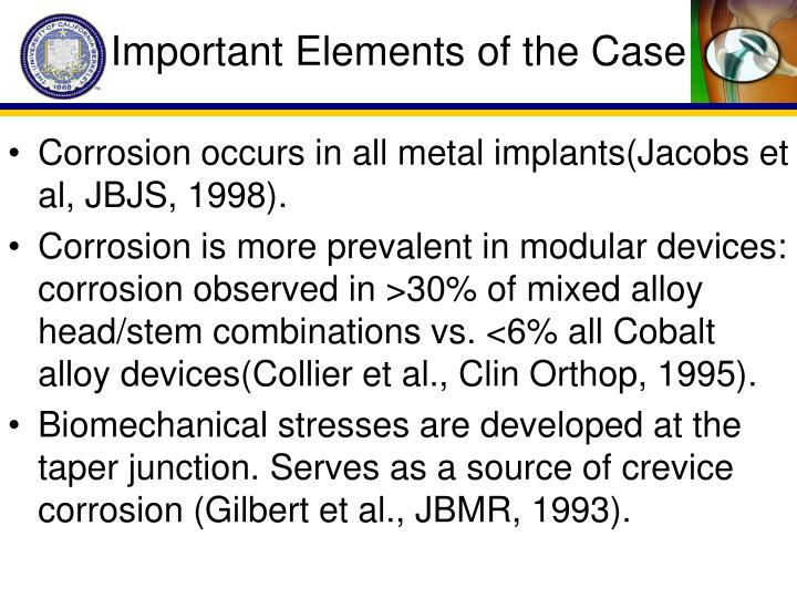 Important Elements of the Case