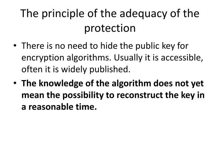 The principle of the adequacy of the