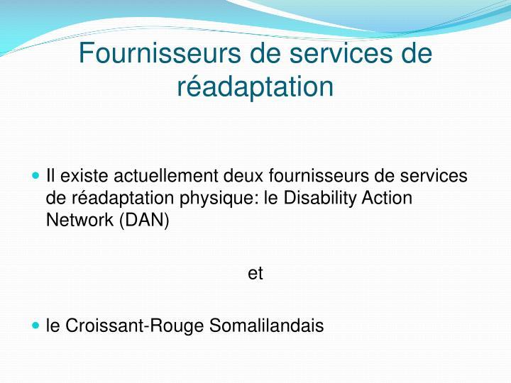 Fournisseurs de services de réadaptation