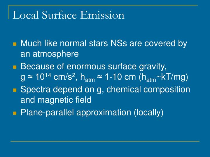 Local Surface Emission