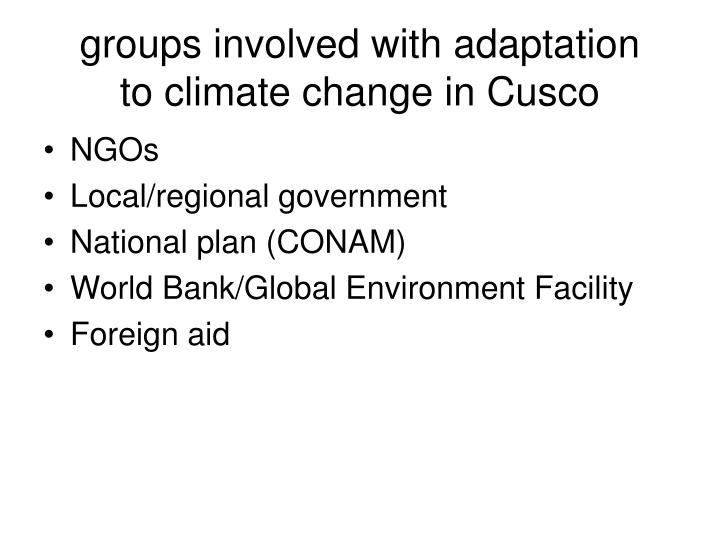 groups involved with adaptation