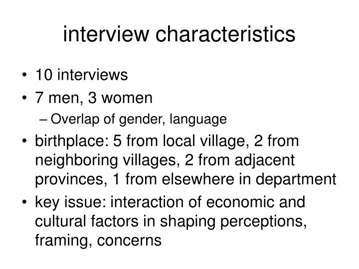 interview characteristics