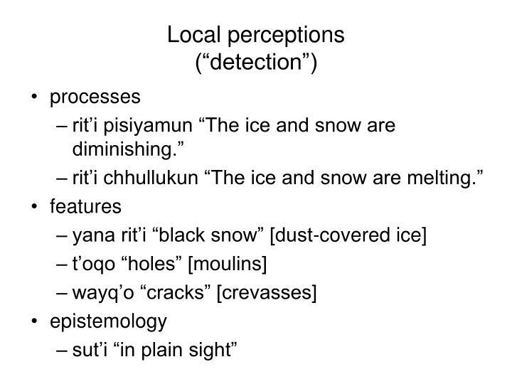 Local perceptions