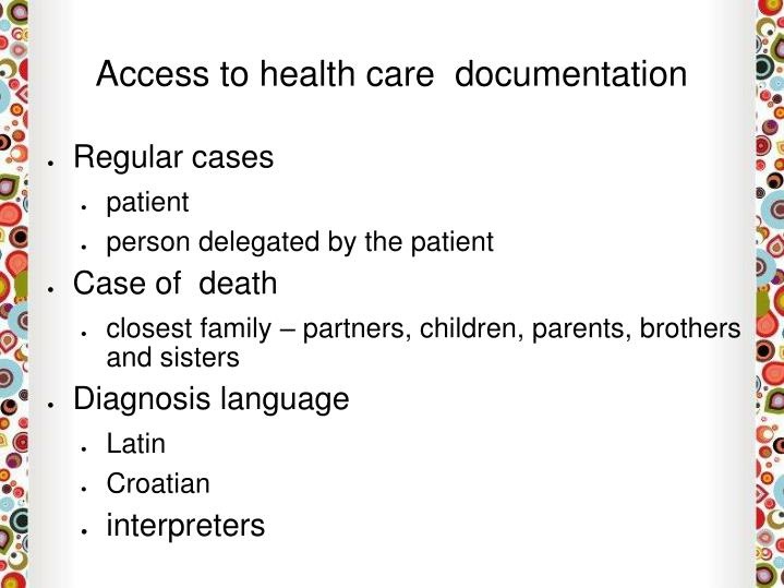 Access to health care  documentation