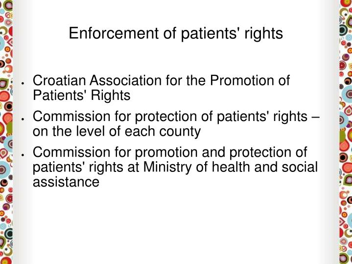 Enforcement of patients' rights