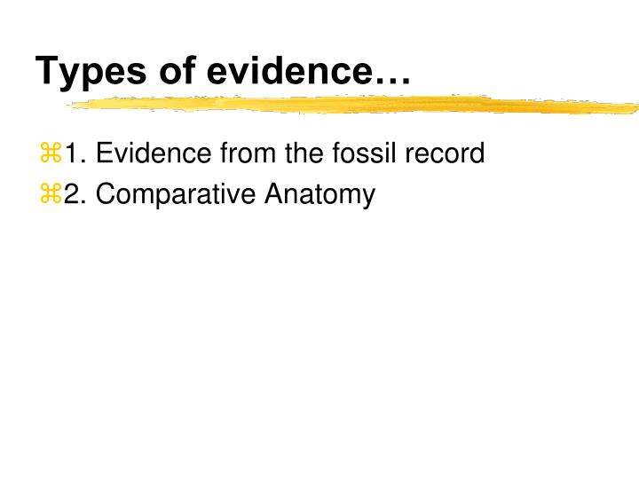 Types of evidence…