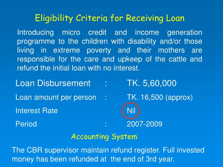 Eligibility Criteria for Receiving Loan