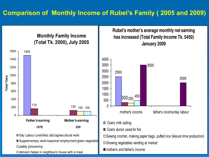 Comparison of  Monthly Income of Rubel's Family ( 2005 and 2009)