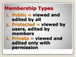 membership types