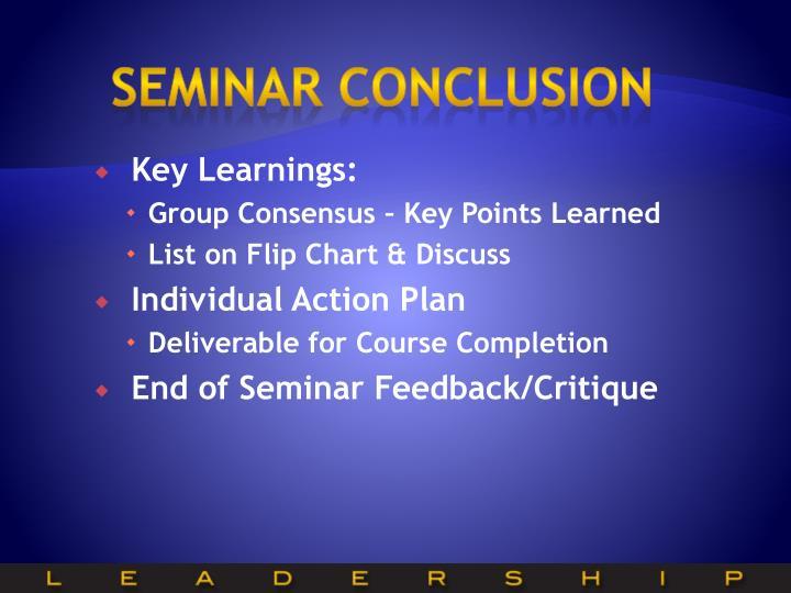Seminar conclusion