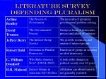 literature survey defending pluralism
