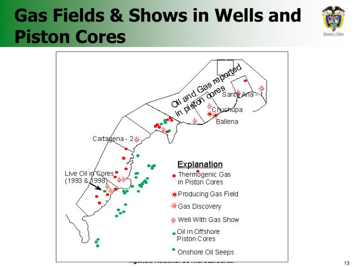 Gas Fields & Shows in Wells and  Piston Cores