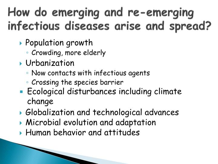 How do emerging and re-emerging infectious diseases arise and spread?