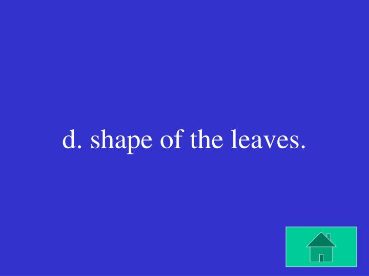 d. shape of the leaves.