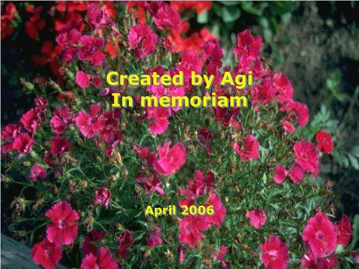 Created by Agi In memoriam