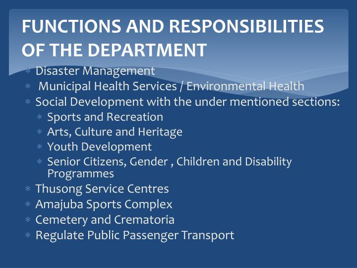 FUNCTIONS AND RESPONSIBILITIES OF THE DEPARTMENT